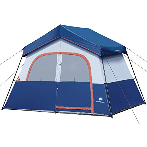 HIKERGARDEN Camping Tent - 6/10 Person Tent for Camping Waterproof, Windproof Fabric, Easy Setup with Large Mesh for Ventilation, Double Layer and Divided Curtain (6 Person(Blue))