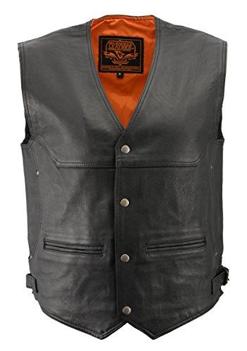 Milwaukee Men's Deep Pocket Leather Vest (Black, Large)