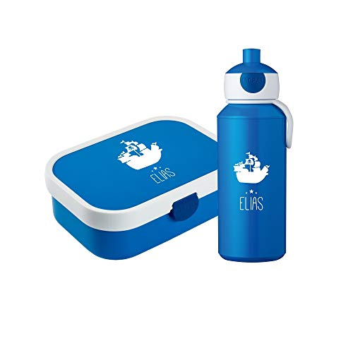 4you Design Set ✶Brotdose & Trinkflasche Schiff Silhouette mit Namen✶ Mepal Campus + Bento Box & Gabel ✶Schulkind ✶Snack ✶6 Farben (Blau)