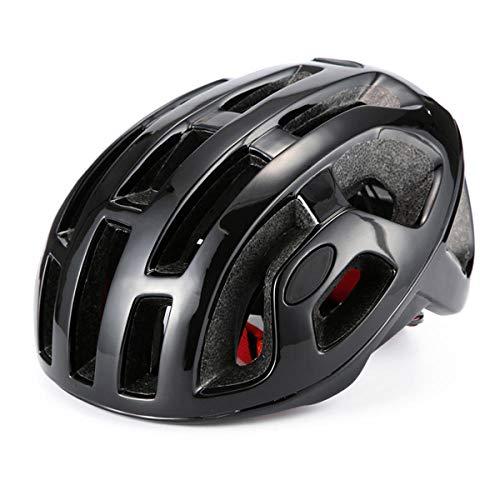 CascosDeEsquí Casco de Bicicleta de Carretera octal día de Carreras Casco de Ciclismo de montaña MTB triatlón Aero Hombre Mujer Cascos de Bicicleta-Negro Brillante