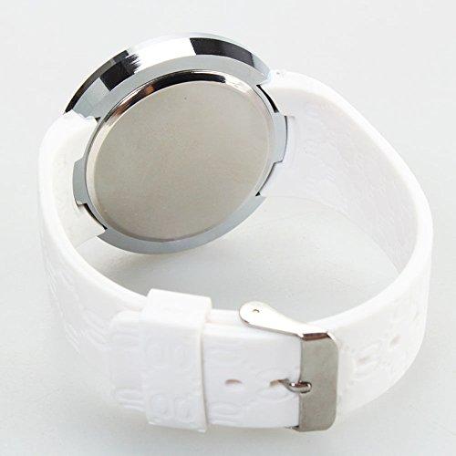 『COCOTINA新しいメンズLEDタッチスクリーン円形パターン日日付スポーツ腕時計(ホワイト)』の2枚目の画像