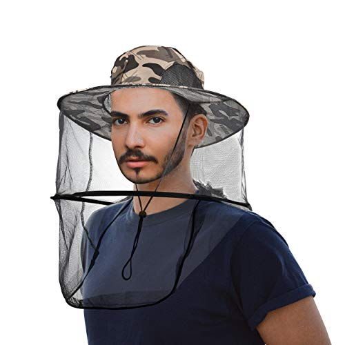CozyCabin Mosquito Head Net Hat with Hidden Net Mesh, Outdoor Fishing Hat Repellent Protection from Insect Bee Mosquito for Outdoor Lover Men or Women (Gray Camouflage)