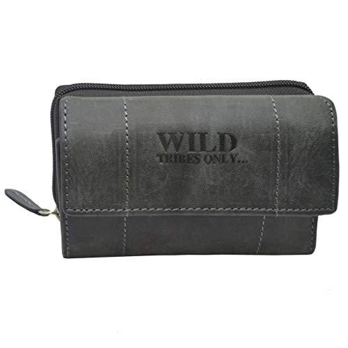 Damen Wild Leder Geldbeutel in 6 Farben mit RFID Schutz (Schwarz)