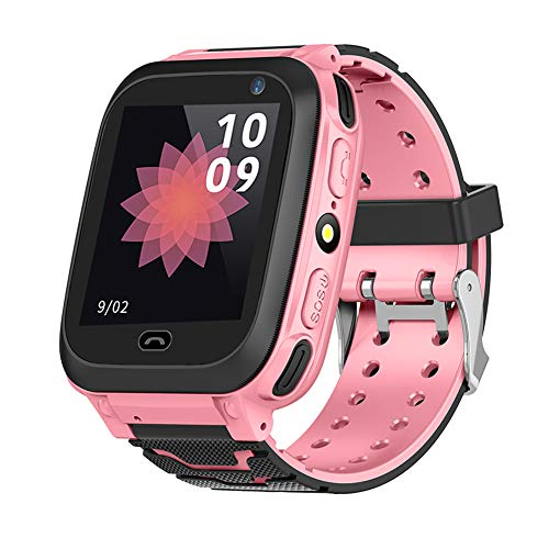 VBESTLIFE Bambini Smart Watch Bluetooth LBS Locator Smart Watch SIM Sveglia Orologio Smart Wristband Anti-Perso per Bambini gsm Chiamata SOS (Rosa)