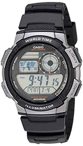 Casio Men's AE1000W Digital Sport Watch Grey & Cooling Towel Bundle