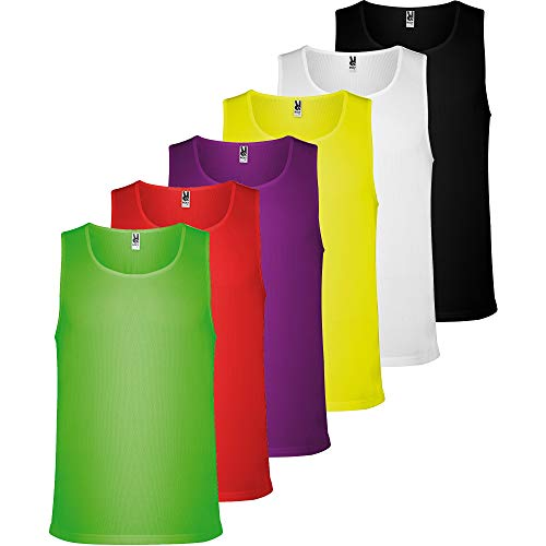 ROLY Camiseta Técnica Hombre (Pack 6) de Tirantes para Uso Deportivo Fitness, Running, Deporte en Casa, Deporte al Aire Libre (6 Colores, L)