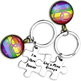 Ahaeth Lesbian Jewelry LGBT Pride Keychain Set Couples Gifts Lesbian Keychain Her and Her Lesbian Wedding Gift for LGBT Lesbian Couple Jewelry