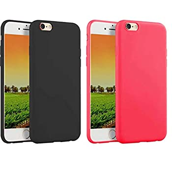 2 Pack Compatible withiPhone 8 Case 2017/iPhone 7 2016 Case,Soft TPU Slim Thin Durable Anti-Scratch Shock-Absorption Resistant Shield Cell Mobile Phone Cover Case for Girls Women Man Boys,Black+Red