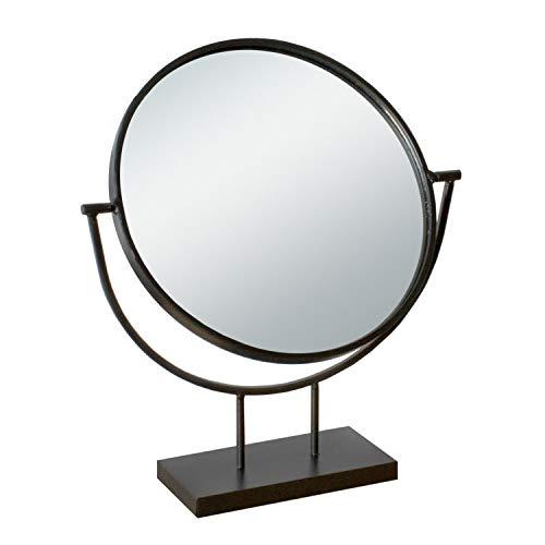 Multistore 2002 Stand-Tischspiegel 29x8xH34cm, Spiegelfläche rund schwenkbar, Metallgestell Grau Retro-Look Kosmetikspiegel Dekospiegel Schminkspiegel