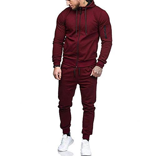 Sumen Men Zipper Patchwork Hoodie Pants Sets Tracksuit Jogging Sweatsuit Activewear (2XL, Wine Red)