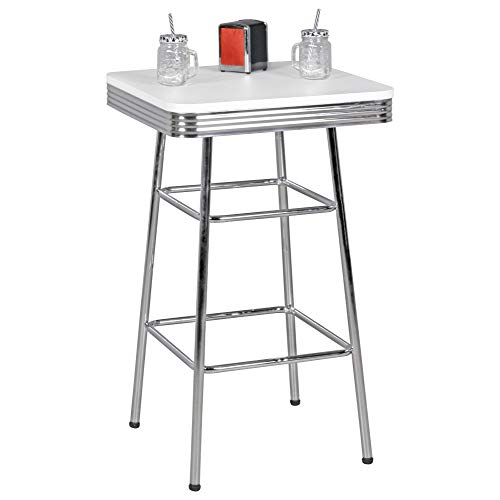FineBuy King American Diner Bartisch 60 x100x60 cm MDF/Aluminium | Retro Stehtisch USA in Weiß/Silber | Robuster Bistrotisch im Stil der 50er Jahre | Party Bar Möbel Tisch mit Untergestell