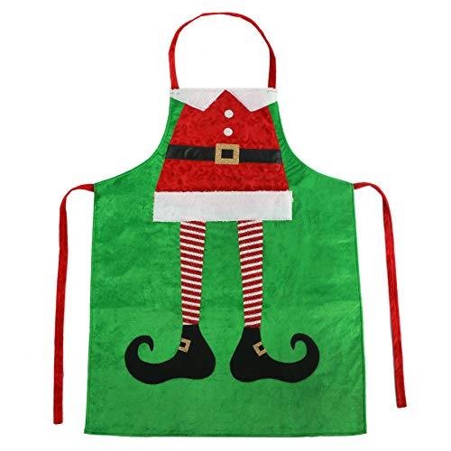 Athoinsu Christmas Apron Elf Leg Kitchen Chef Aprons Xmas Holiday Costume Party Supplies Gifts for Men Women Good for Cooking Gardening Baking, Green, 23''40''