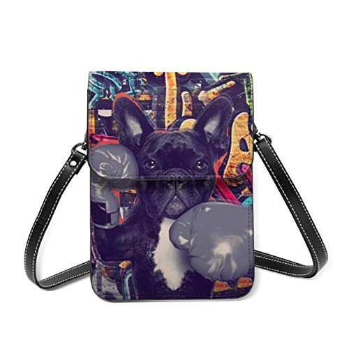 Boxing French Bulldog Black Cool Leather Small Phone Bag Crossbody Cell Phone Purse For Women Cellphone Shoulder Bags Card Holder Wallet Purse With Adjustable Strap Gifts
