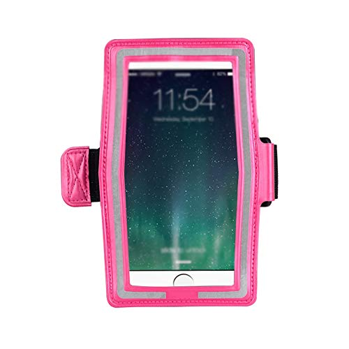 LI Ming Shop L-H - Bolsa de brazo deportiva, para correr al aire libre, pantalla táctil, para teléfono móvil, bolsa de brazo, reflectante para la noche, apto para dispositivos inteligentes de menos de 6 pulgadas (color: rosa, tamaño: 18,1 x 7 cm)