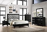 Kings Brand Furniture – Madison 6-Piece Queen Size Black Bedroom Set. Bed, Dresser, Mirror, Chest & 2 Nightstands
