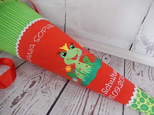 #189 Frosch grün-rot Schultüte Stoff + Papprohling + als Kissen verwendbar