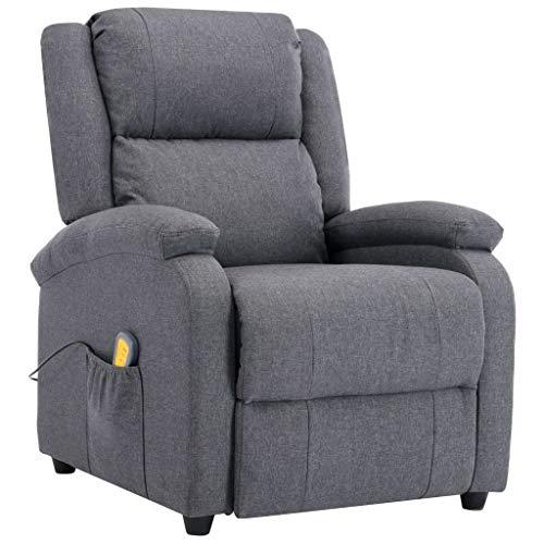 Festnight Elektrischer Massagesessel Relaxsessel Fernsehsessel mit Heizfunktion aus Holz und Stahl Dunkelgrau Stoff