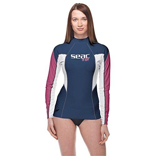 Seac RAA Long EVO Donna Rash Guard - Camiseta de Manga Larga para Mujer, Mujer, 1550002002055A, Azul/Rosa, Medium
