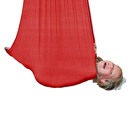 LHHL Professional Cuddle Hammock Elastic Anti-Gravity Yoga Swing for Children Kids Swing Indoor Therapy Swing Great for Autism (Color : Red, Size : 100280CM)