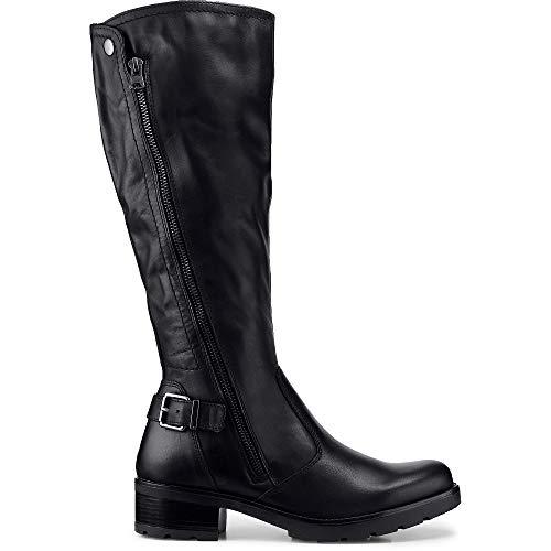 Cox Damen Langschaft-Stiefel aus Leder, Lange Boots in Schwarz mit robuster Laufsohle Schwarz Glattleder 38