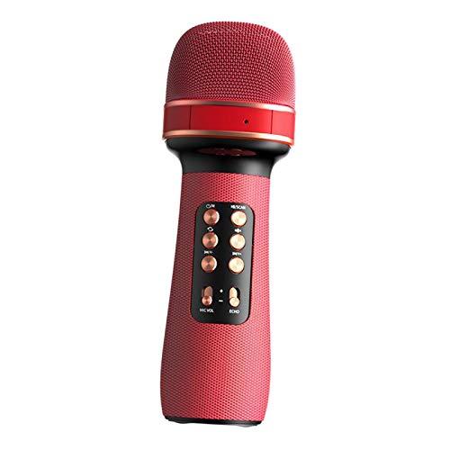 sharprepublic 3 en 1 micrófono inalámbrico Bluetooth portátil de mano de alta calidad para Smartphone Ordenador de Navidad Fiesta en casa de música Smart TV - Rojo