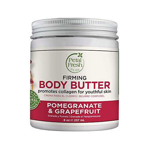 Petal Fresh Pure Firming Pomegranate & Grapefruit Body Butter, Organic Coconut Oil, Argan Oil, Shea Butter, Promotes Collagen, For All Skin Types, Natural Ingredients, Vegan and Cruelty Free, 8 oz