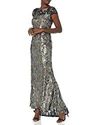 Gunmetal Multi Cap Sleeve Gown with V-Neck Back