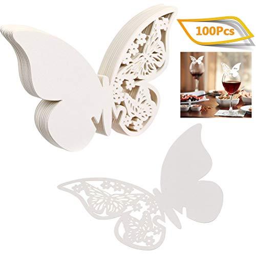 WOWOSS 100Pcs Tarjetas de Nombre de Mariposa 100 tarjetas de vidrio de mariposa para la decoración de la mesa de bodas o aniversarios