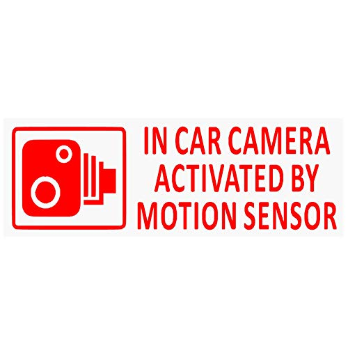 5 x in auto camera attivata da sensore di movimento stickers-red/clear-small 87 x 30 mm-vehicle sicurezza rilevamento adesivi signs-cctv per auto, furgoni, camion, taxi, mini Cab, bus, Coach