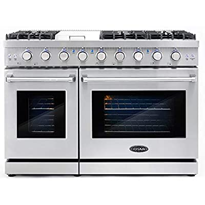 Cosmo COS-EPGR486G 48 in. Slide-in Freestanding Double Gas Range with 6 Sealed Italian Burner Cooktop, Cast Iron Grates and Primary Convection Oven in Stainless Steel