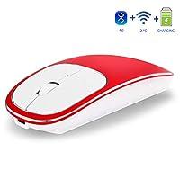 ブルートゥースミニマウス、PC、Mac、ラップトップ、アンドロイドタブレット用の充電式の超薄型ポータブルモバイルオプションマウス,赤