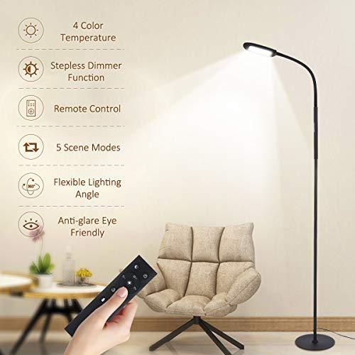 Tomshine LED Stehleuchte Fernbedienung & Touching Control Hohe Lumen Leseständer 4 Farbtemperaturen Dimmbar Abnehmbar Kostenlos für Schlafzimmer Wohnzimmer Büro