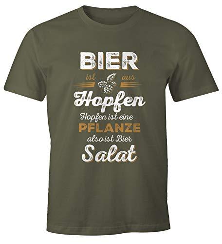 MoonWorks Herren T-Shirt Bier ist aus Hopfen, Hopfen ist eine Pflanze Also ist Bier Salat Fun-Shirt Spruch-Shirt Army XXL