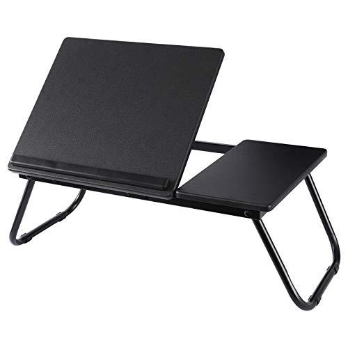 KOADOA Laptop-Tisch mit Ständer, verstellbar, Holzmaserung, Laptop-Bettisch, tragbarer Stehpult, faltbarer Knietablett-Schreibtisch für Sofa, Couch, Boden (schwarz)