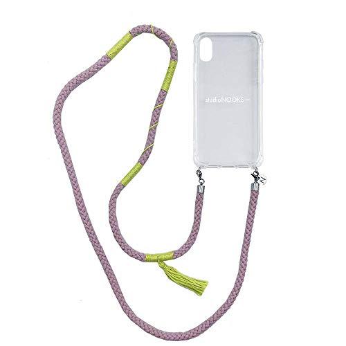 studioNOOKS - Cadena para teléfono móvil de algodón de color lila. - iPhone XR - de algodón suave con bordados hechos a mano para colgar, funda para teléfono móvil, funda para teléfono móvil.