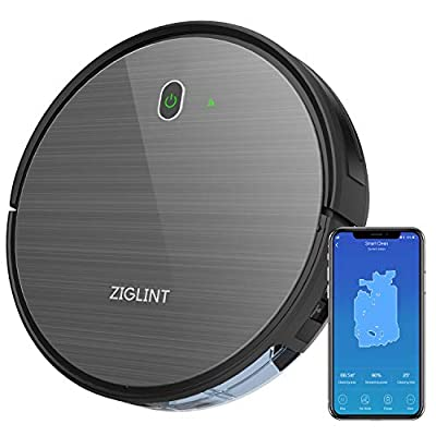 ZIGLINT D5 Robot Vacuum Cleaner -1800Pa Strong Suction, Super Thin, Quite, Self-Charging, Drop-Sensor, Alexa App Connect, Robotic Vacuum Cleaner for Hard Floors Carpets 2 Year Warranty