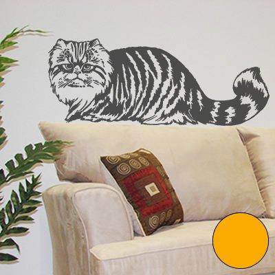 A094 - Adhesivo de pared (90 x 35 cm), diseño de gato persa, color amarillo dorado