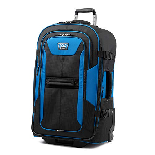 Travelpro Bold-Softside Expandable Rollaboard Upright Luggage, Blue/Black, Checked-Large 28-Inch