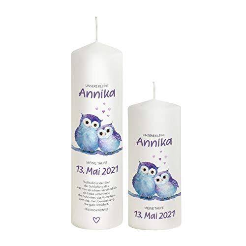 Liamoria® Vela bautizo Búho niña – Color lila – 27 x 8 cm modelo Annika – Maravillosas velas de bautizo para niñas – Personaliza ahora tu bautizo (con 1 vela de padrino)