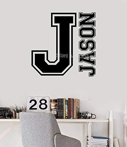 Monograma del deporte Nombre de la letra del equipo universitario Etiqueta de la pared inicial Nombre personalizado Etiqueta de vinilo personalizada para los niños habitación Nursery mural 30 * 30 cm