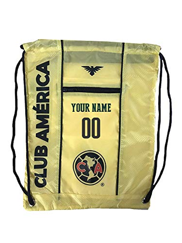 Club America Cinch Bag Sack Mexico Backpack Book bag Add Your Name and Number (Yello)