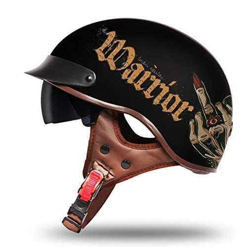 MYSdd Retro Motorradhelm Persönlichkeit Retro Männer und Frauen Motorradhelm Roller Helm geeignet für das Tragen in verschiedenen Umgebungen - 10 XM