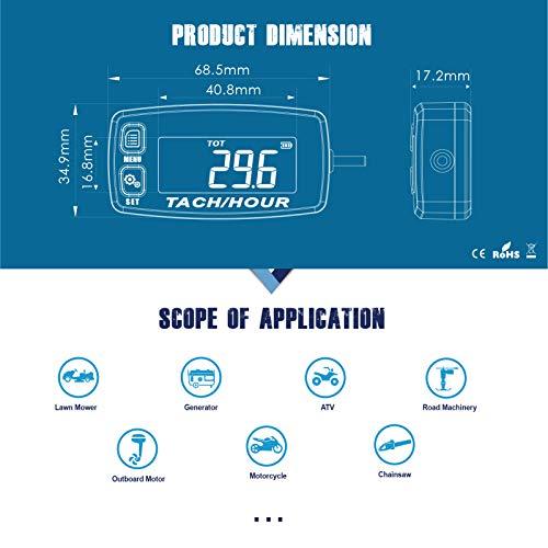 Runleader HM032R Inductive Tachometer Digital Tach Hour Meter Backlit Flash Alert Service Alarms for Gasoline Engine Chainsaw ATV UTV Dirtbike Motobike Motocycle Outboards Snowmobile Marine Boat