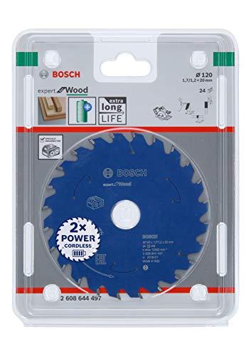 Bosch Professional Cirkelzaagblad Expert for Wood (hout, 120 x 20 x 1,7 mm, 24 tanden, accessoire accu-cirkelzaag)