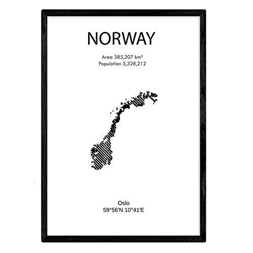Nacnic Poster Norwegen. Blätter von Ländern und Kontinenten. A3 Größe