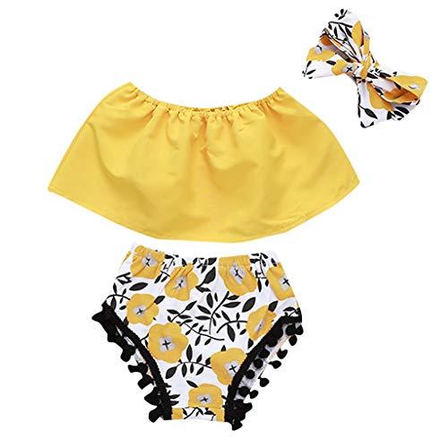 Luckycat Conjunto Rope para Bebe niña Verano Hombro Camisa para Niñas sin Tirantes Blusa Moda Tops para Chica Pantalones Cortos+Blusa +Venda