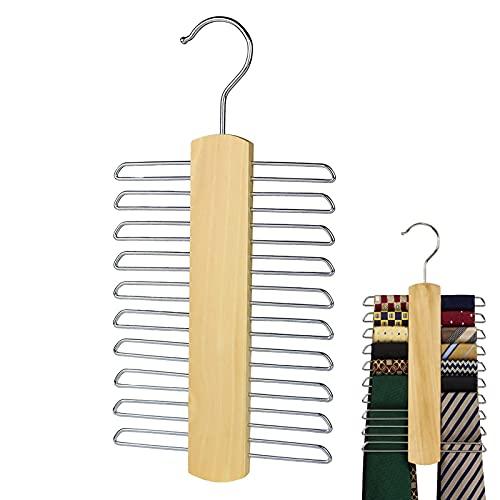 2 Pezzi Portacravatte,Portacravatte Di Legno Tie Rack Per 20 Cravette,Gruccia Portacravatte,Per Armadio Sciarpa Scarpetta Cintura Gancio Gancio Per Armadio Stoccaggio(30*15cm)