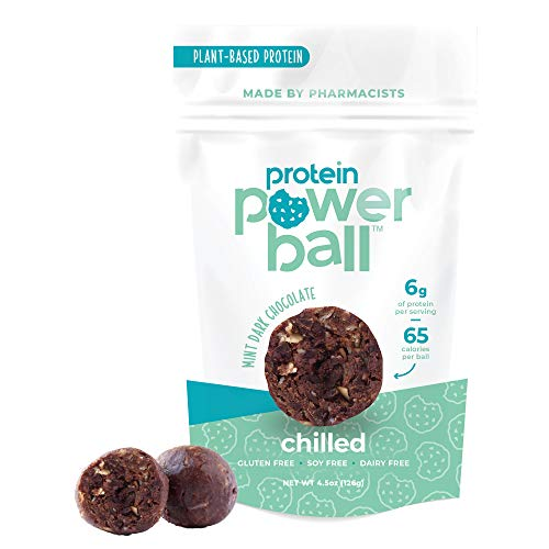 Protein Power Ball Healthy Snacks, Gluten Free, Dairy Free, Soy Free, Vegan Snack Energy Bites (Mint Dark Chocolate, 1 Pack)