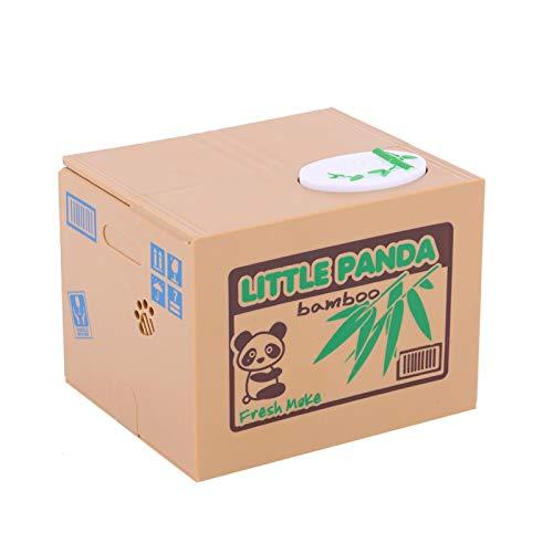 Oumefar 1 Uds Panda Hucha Banco de Monedas Monedas de Robo automático centavos para Caja de Ahorro bancario 2 uds Pilas AA no Incluidas