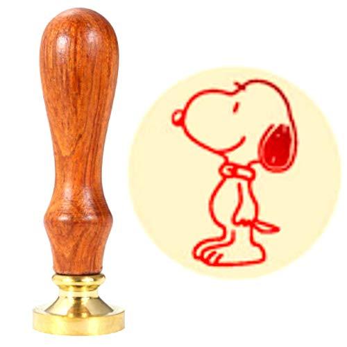 Wachssiegelstempel, ANBOSE Snoopy Wachssiegelstempel mit Holzgriff Kupfersiegel, Vintage Retro Cartoon Siegelwachs Stempel für Briefkarten, Einladungen